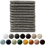 Blumtal handdoekenset 12 washandjes 30x30 - zacht en absorberend, 100% katoen, Oeko-Tex 100 gecertificeerd, grijs