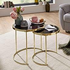 FineBuy Design Satztisch Caro Schwarz/Gold Beistelltisch Metall/Glas   Couchtisch Set aus 2 Tischen   Kleiner Wohnzimmertisch   Metalltisch mit Glasplatte   Ablagetisch modern