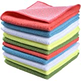 """SINLAND Microfiber Dish Cloth for Washing Dishes Dish Rags Best Kitchen Cloths Cleaning Cloths with Poly Scour Side 5 Color Assorted 12""""x12"""" 10 Pack (Pinkx2+bluex2+whitex2+yellowx2+greenx2)"""
