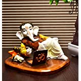 Karigaari India Handcrafted Resine Doing Business On Laptop Ganesha Idol Sculpture | Showpiece for Home Décor and Office