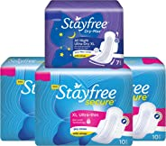 Stayfree Secure XL Ultra Thin Sanitary Napkins with Wings ,  Extra Large  (30 Count) with  Dry Max All Night Sanitary Napkin