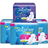 Stayfree Secure XL Ultra Thin Sanitary Napkins with Wings , Extra Large (30 Count) with Dry Max All Night Sanitary…