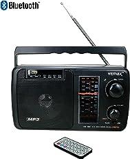 VEMAX Creta Multiple Band (FM/AM/MW/USB/AUX/MMC/TV) Bluetooth Portable Radio with Remote, Charger & AUX Lead (Black)