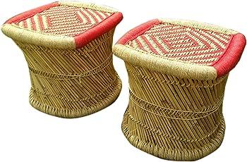 Ecowoodies Buckeye Handicraft Cane/Wooden Bamboo Sitting Ottoman for Breakfast Kitchen Indoor/Outdoor (Multi- 2 Stools)
