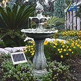 Solar Gartenbrunnen Brunnen Solarbrunnen Zierbrunnen Vogelbad Wasserfall Wasserspiel für garten Terrasse, Balkon, sehr dekorativ, mit Pumpen-instant-start-funktion Solarteichdekoration, mit liIon-akku