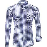Kayhan Originale Uomo Camicia Slim Fit Facile Stiro Cotone Maniche Lungo S M L XL XXL 2XL -Modello Quadri K-2014