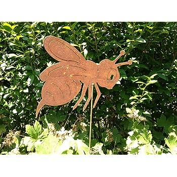 50cm Pflanzstecker Gartenstab Rostdeko Rost H Gartenstecker Biene