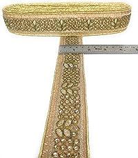 Crisskross Rajasthani Gotta Patti Lace Border,Patti Zari/Copper Golden/Designer for Dress/Sarees/Lehenga/Suits/Blouses and Craft 4.5cm X 9meters Pack…