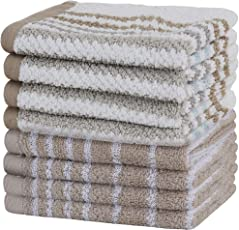 Urban Hues 500 GSM Cotton Face Towels, Beige & White - Set of 8 (12 Inch x 12 Inch)