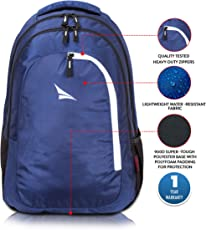 Lunar's Tourister 33L Casual Backpack - College|School Bag (Blue-White)