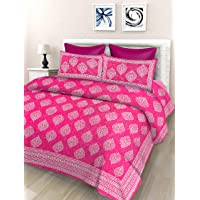 SheetKart Floral 144 TC Cotton Double Bedsheet with 2 Pillow Covers - Pink