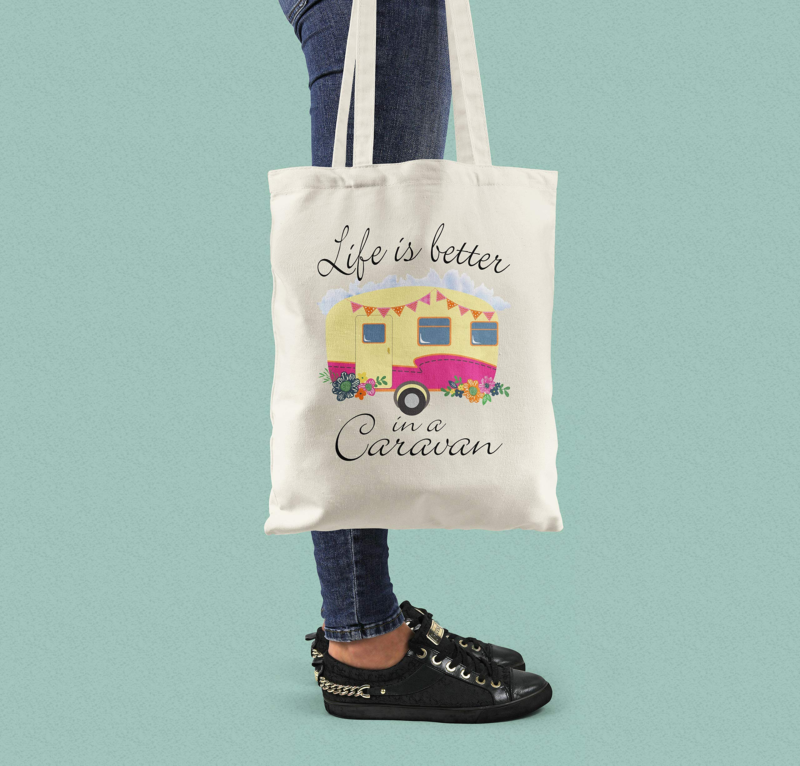 Life is Better in a Caravan Cotton Shopping Bag - handmade-bags