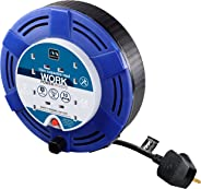 Masterplug Four Socket Cassette Reel Extension Lead, 10 Metres, Blue