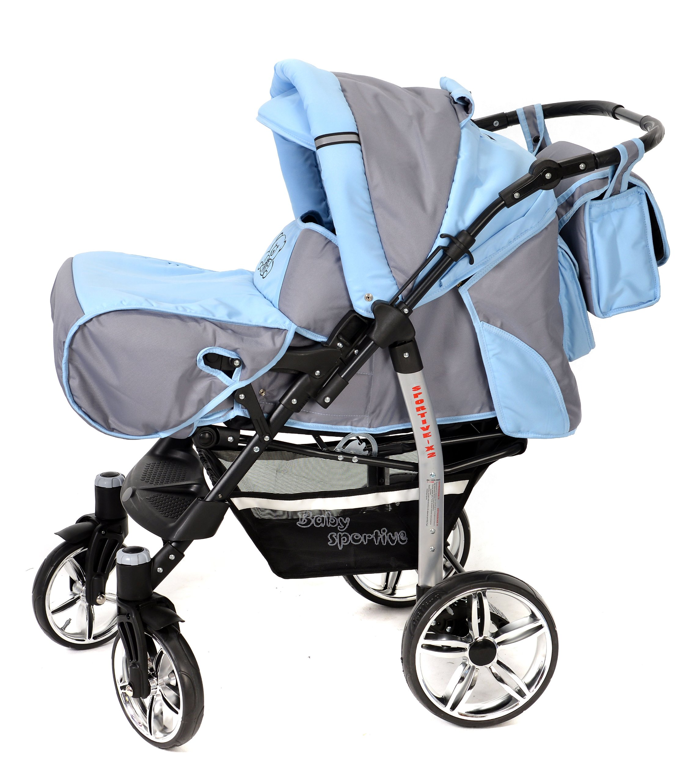 Sportive X2, 3-in-1 Travel System incl. Baby Pram with Swivel Wheels, Car Seat, Pushchair & Accessories (3-in-1 Travel System, Pale Grey & Blue)  3 in 1 Travel System All in One Set - Pram, Car Carrier Seat and Sport Buggy + Accessories: carrier bag, rain protection, mosquito net, changing mat, removable bottle holder and removable tray for your child's bits and pieces Suitable from birth, Easy Quick Folding System; Large storage basket; Turnable handle bar that allows to face or rear the drive direction; Quick release rear wheels for easy cleaning after muddy walks Front lockable 360o swivel wheels for manoeuvrability , Small sized when folded, fits into many small car trunks, Carry-cot with a removable hood, Reflective elements for better visibility 3