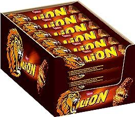 Nestlé LION Schokoriegel mit Karamell, bissiger Snack, knackige Schokolade & knusprige Crisps, Karamellfüllung, das besondere Beißerlebnis, Menge: 24er Pack (24 x 42 g)