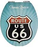 Wenko 21599100 WC-Sitz Vintage Route 66 - Metal Plate Oberfläche, Absenkautomatik, Metall, mehrfarbig