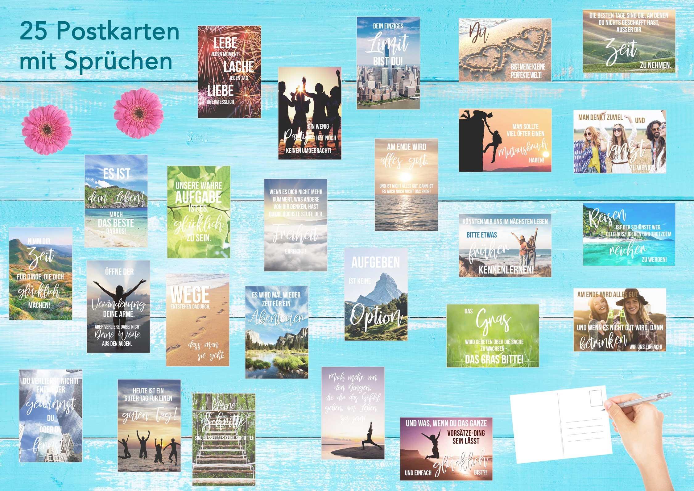 Set 25 Postkarten Leben Momente Mit Spruchen Karten Mit Spruch