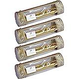 HomeStrap PVC Single Rod Storage Bangle Pouch for Women/Chudi Organizer Holder (Transparent Golden) - Set of 4