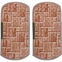 Heart Home Checkered Design PVC 2 Pieces Fridge/Refrigerator Handle Cover (Brown) - CTHH6553