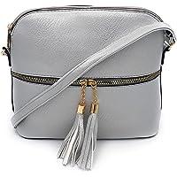 ELIOX Borsa Donna a Tracolla Piccola in PU Pelle Sintetica - Borsetta Moda- Crossbody Bag (Argento)
