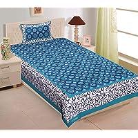RajasthaniKart Comfort Rajasthani Jaipuri Traditional Sanganeri Print 144 TC Cotton Single Size Bedsheet with 1 Pillow…