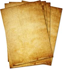 50 BLATT Vintage Briefpapier / DIN A4 90g /m² - ca 21 x 30 cm / Bastelpapier für Kinder / für Karten + Einladungen zur Hochzeit / Vintage Papier beidseitig bedruckbar / 50er Block blanko Motivpapier / Set zum Gestalten in dunkel-braun