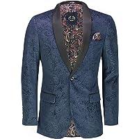 Mens Soft Velvet Paisley Print Tuxedo Jacket Smart Formal Black Lapel Dinner Blazer Retro Tailored Fit