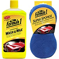 Formula 1 Car Wash Kit (Wash & Wax 473ml, Super Sponge)