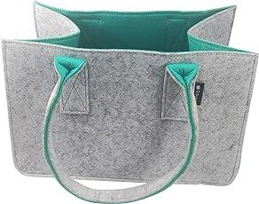 Tebewo Shopping Bag aus Filz, Große Einkaufs-Tasche mit Henkel, Einkaufskorb, Faltbare Kaminholztasche zur Aufbewahrung von Holz, Vielseitige Tragetasche Auch zur Spielzeug Aufbewahrung, Farbe Grau