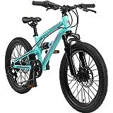 BIKESTAR MTB Mountain Bike Sospensione Completa Alluminio per Bambini 6 Anni   Bicicletta 20 Pollici 7 velocità Shimano, Fren