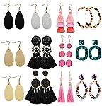 LOLIAS 10-12 Pairs Dangle Earring Tassel Thread Earrings Leather Teardrop Acrylic Drop Earring Set for Women Girls...