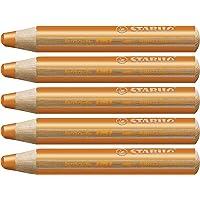 Crayon de coloriage - STABILO woody 3in1 - Lot de 5 crayons de couleur - Orange