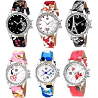 SWADESI STUFF Analogue Women's Watch (Multicolored Dial Assorted Colored Strap) (Pack of 6)