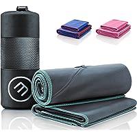 Microfibre Towel Set of 2 + Bag | Antibacterial Quick Dry, Lightweight + Phone Zip Pocket | Large & Small Soft Micro…