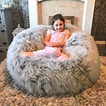 Small World Baby Shop XXL FAUX FUR CHILDRENS ADULTS GAMING PRE FILLED BEAN  BAG BEANBAG (GREY) fba9ed5f6ee8d