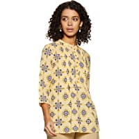 Amazon Brand - Myx Women's Floral A-Line Cotton Short Kurti with Pintucks