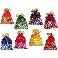 muccasacra Festival & Wedding Gifting Pack of 16 criss cross Gota Patti Velvet Multicolour Shagun Gift Pouch Potli (pack…