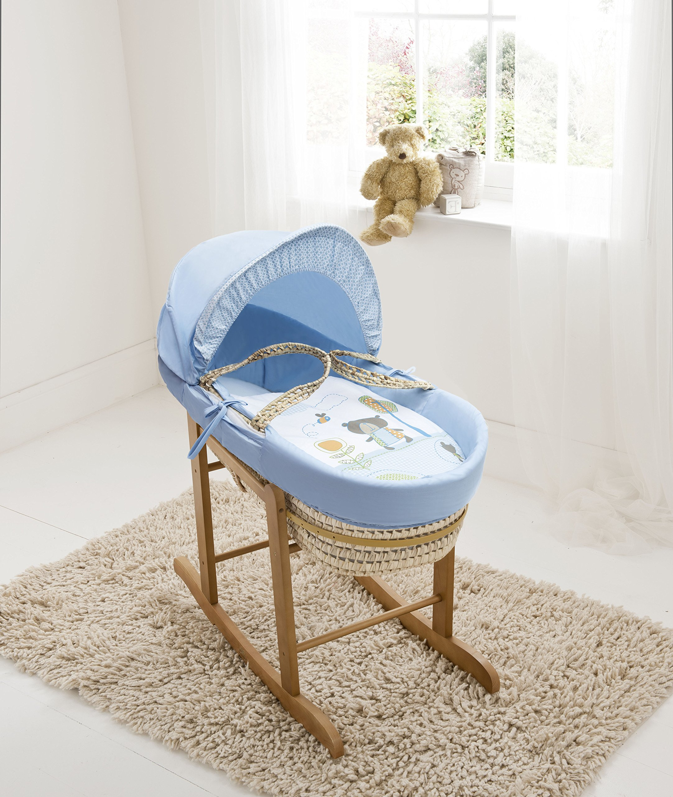 Beary Nice Blue Palm Moses Basket & Deluxe Natural Rocking Stand Elegant Baby Suitable from newborn for up to 9kg, this Moses Basket uses Easy-care Poly Cotton with a soft padding surround Suitable from newborn to 9 months It also includes a comfortable mattress and an adjustable hood perfect to create a cosy sleeping space for your precious little one 1