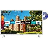 Telefunken XF32J519D-W 32 inch televisie (Smart TV incl. Prime Video/Netflix/YouTube, Full HD, DVD-speler, Bluetooth, Works w