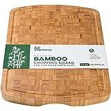 Extra Große und Dickes Bambus Schneidebrett und Küchenbrett | 45 x 33 x 3(cm) | Tranchierbretter mit Saftrille dickes | Stylisch Arbeitsflächen schutz | Stärke und Haltbarkeit