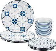Amazon Brand - Solimo 12 Piece Dinnerware Set (Blue Floral)