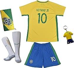 Brasilien #10 Neymar JR. Heim Kinder Fußball Trikot Hose und Socken
