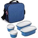 TATAY Urban Food Casual - Bolsa térmica porta alimentos con 4 tapers herméticos incluidos, 3 litros de capacidad, Azul, 22.5