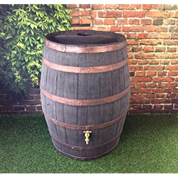 Barrel Water Butt / 52 Gallon / 238 Litre / Jacobean Dark Oak Effect Hogshead Ale Barrel With Brass Tap / Garden