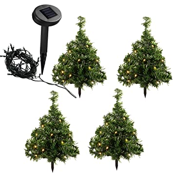 Werchristmas solar powered mini christmas trees with ten warm werchristmas solar powered mini christmas trees with ten warm white led lights 35 cm multi coloured set of 5 amazon garden outdoors mozeypictures Image collections