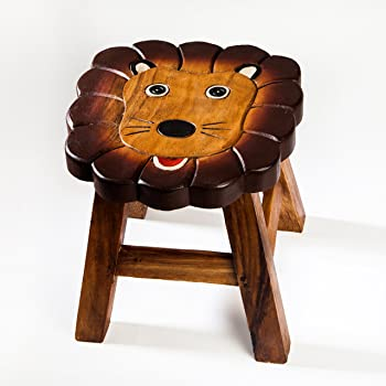 25 cm Sitzh/öhe Robuster Kinderhocker//Kinderstuhl massiv aus Holz mit Tiermotiv Frosch