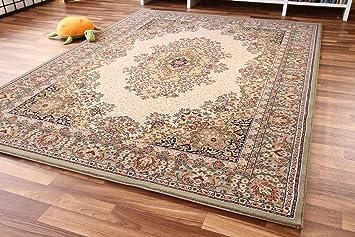Orientteppich  Dubai Kirman Orientteppich grün beige Webteppich - zeitloser Luxus ...