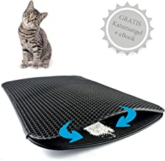 Haustierbote Premium Katzenstreu Matte 75x55cm Doppelte Schicht wasserdicht bienenwaben Katzenklo Unterlage + E-Book + Katzenangel