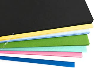 Merakii Coloured Thick Cardstock Paper Sheets for Art Craft, A4 Size, 300 GSM (Assorted, Pastel, Black, Blue and Green, Merakii_P3)- Pack of 24