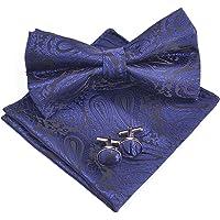 Massi Morino Paisley Bow Tie Set + fazzoletto + gemelli (confezione regalo inclusa) Papillon annodato per uomo in…